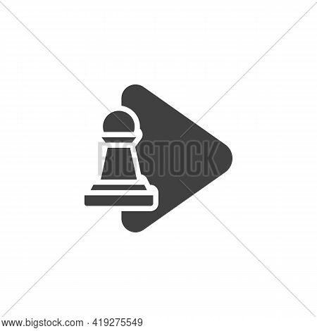 Chess Game Play Vector Icon. Filled Flat Sign For Mobile Concept And Web Design. Pawn Chess Play Gly