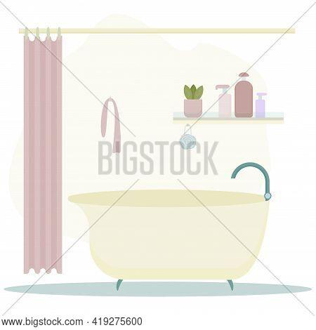 Bathroom Yelllow Interior. Bathroom, Bath Mat, Shower Curtain And Washcloth.