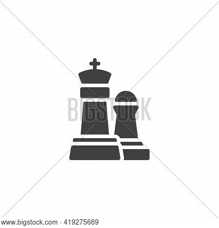 King And Pawn Chess Piece Vector Icon. Filled Flat Sign For Mobile Concept And Web Design. Glyph Ico