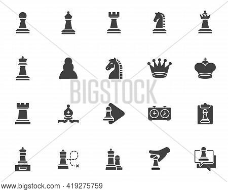 Chess Game Vector Icons Set, Modern Solid Symbol Collection, Filled Style Pictogram Pack. Signs, Log