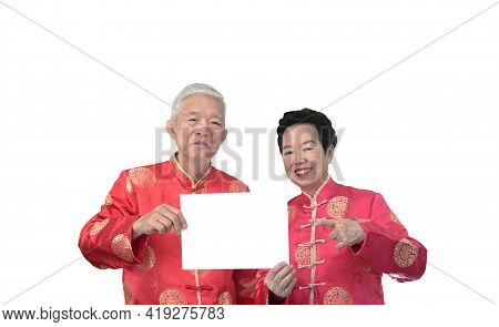 Asian Senior Elder Couple Chiense New Year Celebration With Advertising Copy Sign Holiday Sale Space