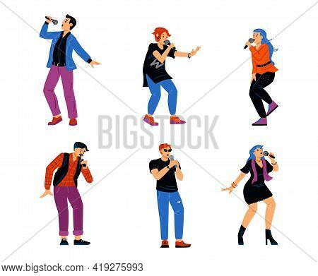 Performance Singing People With Microphone - Karaoke Songs Or Music Show.