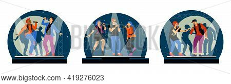 Set Banners With People Sing With Microphones, Flat Vector Illustration Isolated.