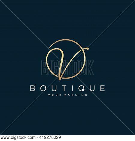 Letter V Script Initial Luxury Logo Design Vector