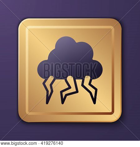 Purple Storm Icon Isolated On Purple Background. Cloud And Lightning Sign. Weather Icon Of Storm. Go