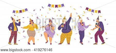 Elderly People Celebrating Birthday In Karaoke, Flat Vector Illustration.