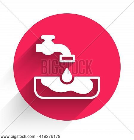 White Water Problem Icon Isolated With Long Shadow. Poor Countries Environmental Public Health Relat