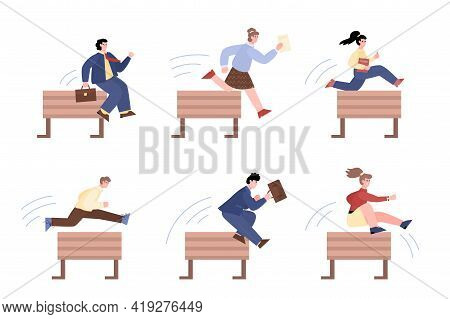 Business People Jump Over Obstacles In Career, Vector Illustration Isolated.