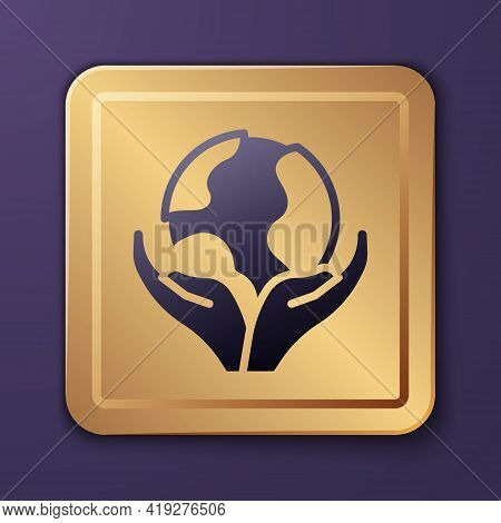 Purple Human Hand Holding Earth Globe Icon Isolated On Purple Background. Save Earth Concept. Gold S