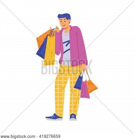 Happy Shopper With Shop Bags In Hands, Cartoon Vector Illustration Isolated.