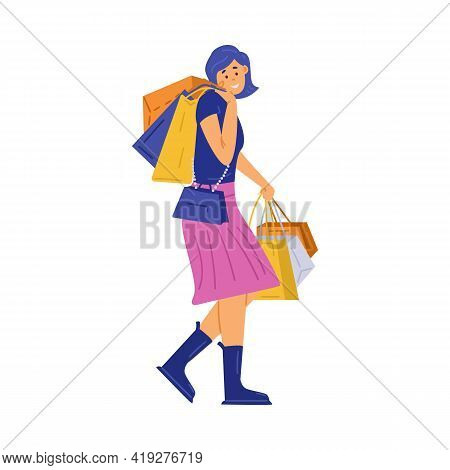 Happy Woman Shopper Shopaholic Hold Lot Bags With Purchases In Hands