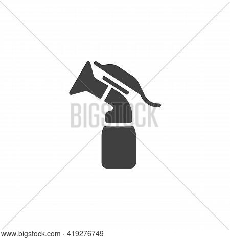 Breast Pump Bottle Vector Icon. Filled Flat Sign For Mobile Concept And Web Design. Breastfeeding Mi