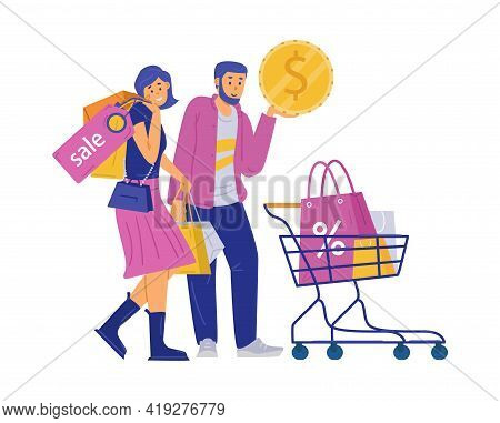 Happy Shoppers Characters With Purchases, Cartoon Vector Illustration Isolated.