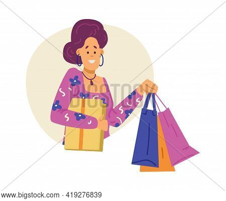 Happy Shopper With Shopping Bags In Hands, Flat Vector Illustration Isolated.