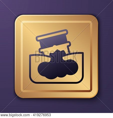 Purple Barrel Oil Leak Icon Isolated On Purple Background. Gold Square Button. Vector
