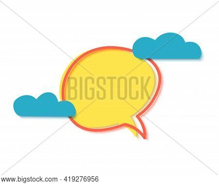 Yellow Banner With Clouds In Paper Cut Style. Speech Bubble With Geometric Shapes. Special Discount
