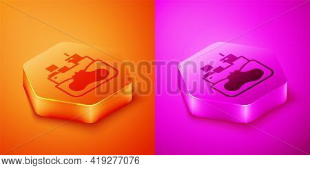 Isometric Wrecked Oil Tanker Ship Icon Isolated On Orange And Pink Background. Oil Spill Accident. C