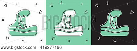 Set Tsunami Icon Isolated On White And Green, Black Background. Flood Disaster. Stormy Weather By Se