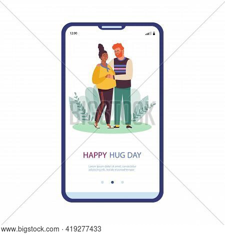 Onboarding Page To Hug Day With Happy Hugging Couple, Flat Vector Illustration.