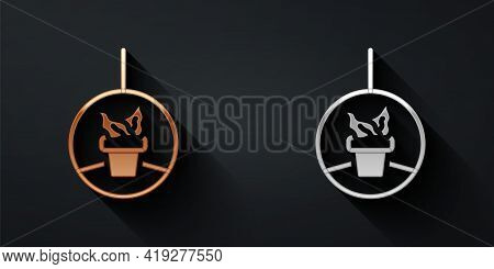 Gold And Silver Plant In Hanging Pot Icon Isolated On Black Background. Decorative Macrame Handmade