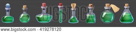 Set Of Bottles Magic Liquid Potion Fantasy Elixir. Game Icon Gui For App Games User Interface. Vecto