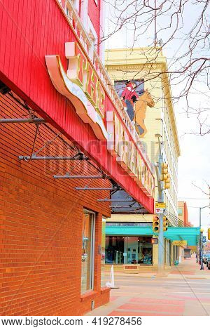 April 26, 2021 In Cheyenne, Wy:  Vintage Buildings With Retail Stores And Restaurants Including The