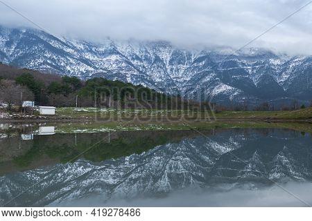 Yalta Crimea January 30, 2021. Mogabinskoe Reservoir With Mountain Views In Winter. Beautiful Myster