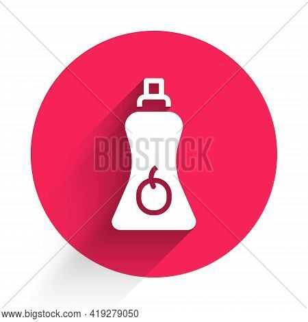 White Sauce Bottle Icon Isolated With Long Shadow. Ketchup, Mustard And Mayonnaise Bottles With Sauc