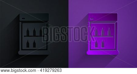 Paper Cut Commercial Refrigerator To Store Drinks Icon Isolated On Black On Purple Background. Peris