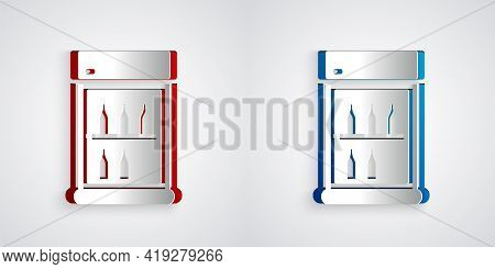 Paper Cut Commercial Refrigerator To Store Drinks Icon Isolated On Grey Background. Perishables For