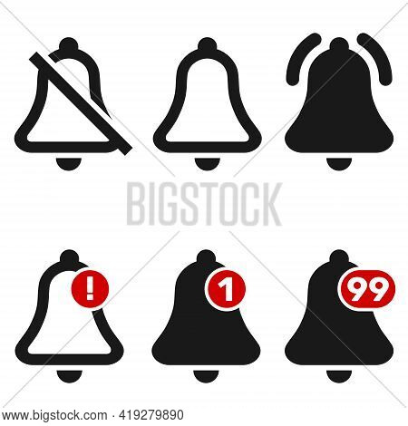Vector Design Of Social Media Notification Bell Icons, Notification Bell On And Off.