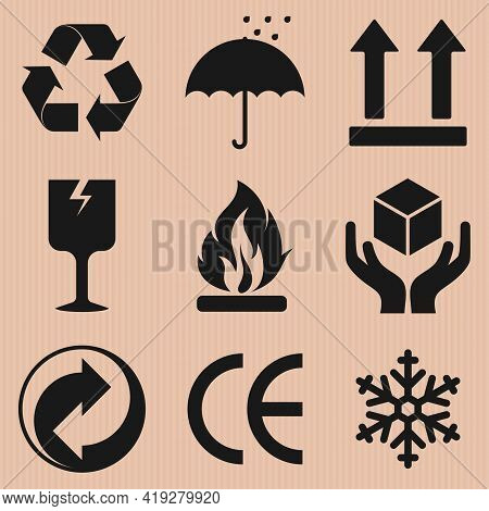 Vector Design Of Cardboard Box Packaging Symbols, Different Types Of Cardboard Box Icons.