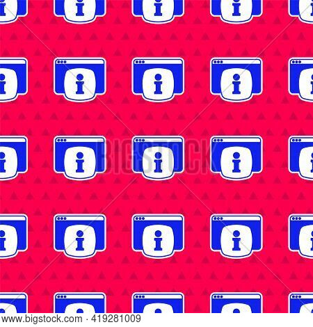 Blue Computer Monitor With Text Faq Information Icon Isolated Seamless Pattern On Red Background. Fr