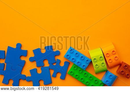 Toy Kids Constructor On Yellow Background Top View