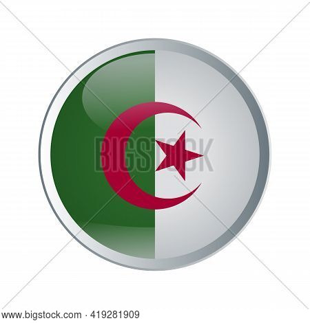Flag Of Algeria With Shiny And Glossy Round Button On White. Vector Illustration.
