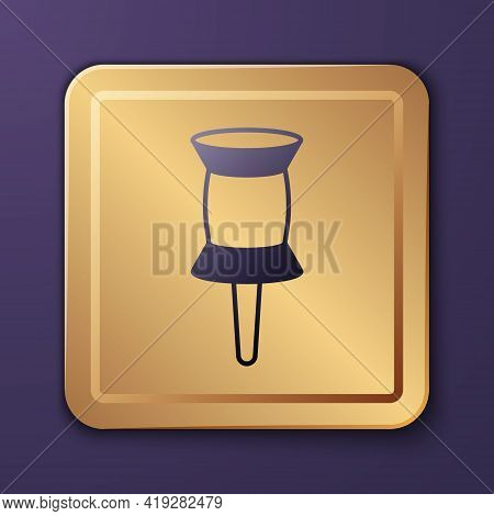 Purple Push Pin Icon Isolated On Purple Background. Thumbtacks Sign. Gold Square Button. Vector