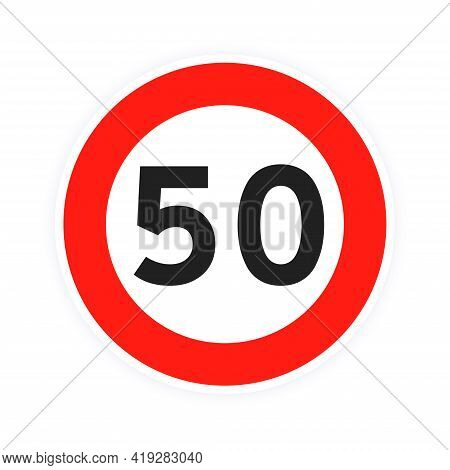 Speed Limit 50 Round Road Traffic Icon Sign Flat Style Design Vector Illustration Isolated On White