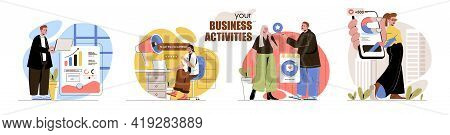 Business Activities Concept Scenes Set. Analysis Of Statistics, Digital Marketing, Promotion In Soci