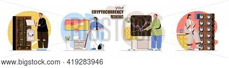 Cryptocurrency Mining Concept Scenes Set. Bitcoin Mining Farms, Digital Money Technology, Trade On M