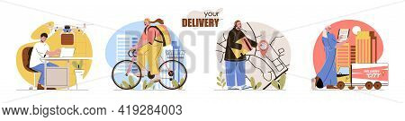 Delivery Concept Scenes Set. Courier Delivers Purchase Home, Drone Flies With Package, Tracking On M