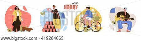 Hobby Concept Scenes Set. Women Walking Dog Or Ride Bike. Men Building House Of Cards Or Learn To Pl