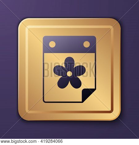 Purple Calendar With Flower Icon Isolated On Purple Background. Gold Square Button. Vector