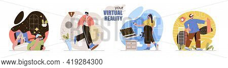 Virtual Reality Concept Scenes Set. Men And Women Wearing Vr Glasses Play Video Games, Explore Plane