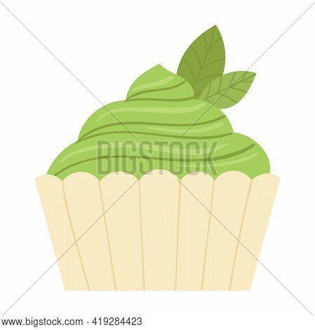 A Healthy Green Dessert Made From Matcha Tea Powder. Healthy Food, Detox, Diet. Vector Cartoon Illus