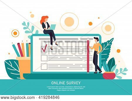 Character Filling Online Survey Form On Huge Laptop Screen. Business Concept With Tiny People. Inter