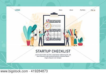 Application Landing Page Template. People Creating And Checking Plan On Huge Check List. Man Points