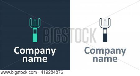 Logotype Garden Rake Icon Isolated On White Background. Tool For Horticulture, Agriculture, Farming.