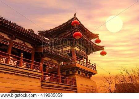 chinese temple qing long temple,xi an,china in sunset