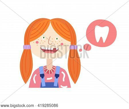 Funny Girl With Open Mouth. Funny Cartoon Child With Lost Baby Teeth. Can Be Used For Dental Ad Desi
