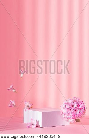 White Square Podium For Presentation Cosmetic, Accessories And Produce On Sunny Bright Pastel Pink B